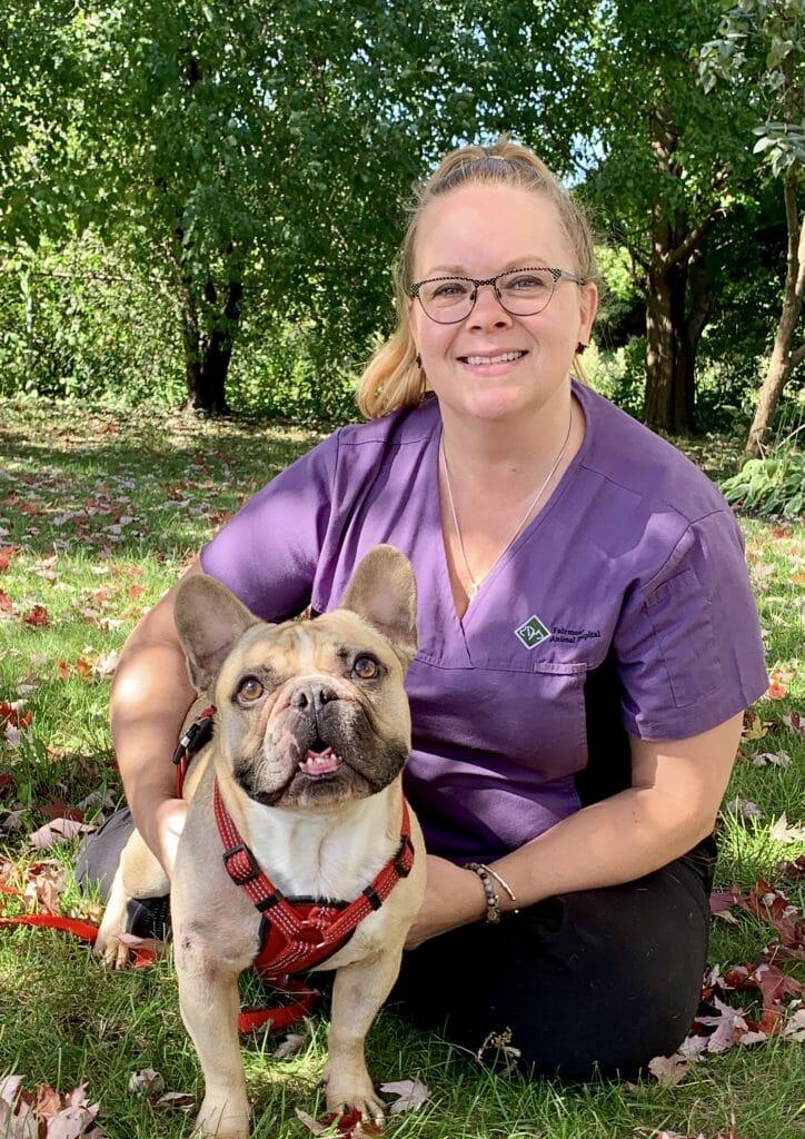 Pam Hansen with a dog